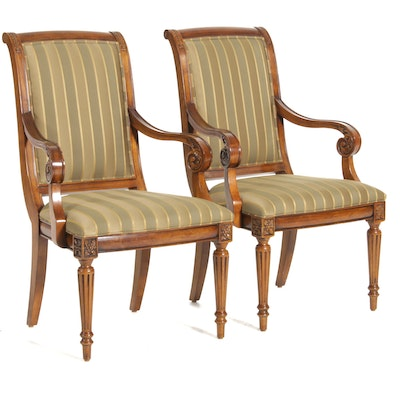 "Ethan Allen ""Adison"" Striped Upholstered Armchairs, Late 20th Century"