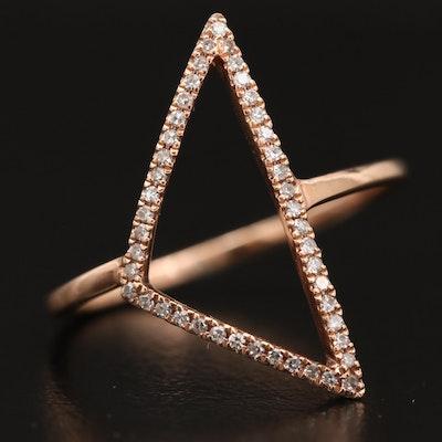 14K Diamond Open Triangular Ring