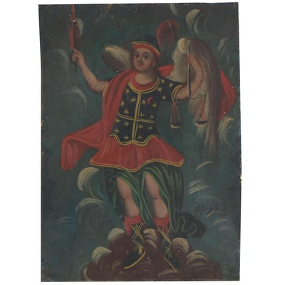 Oil Painting of Archangel Michael on Sheet Metal, 20th Century
