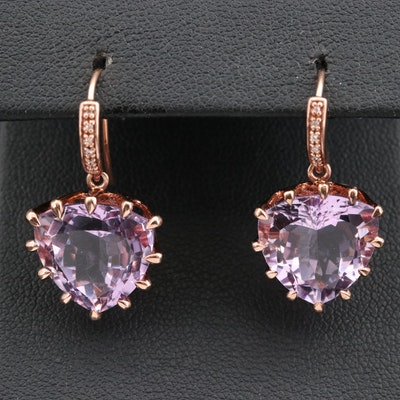 Sterling Silver Amethyst and Cubic Zirconia Triangular Dangle Earrings