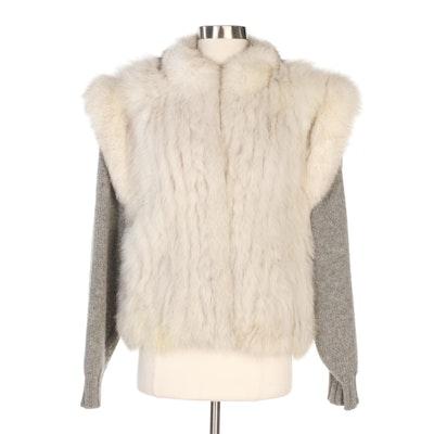 Saga Furs Fox Fur and Gray Cable Knit Convertible Vest/Jacket
