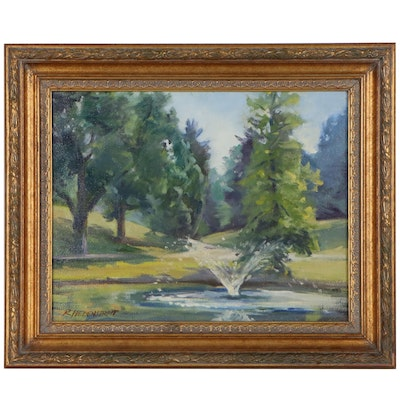 "Robert Hebenstreit Landscape Oil Painting ""Fountain"""