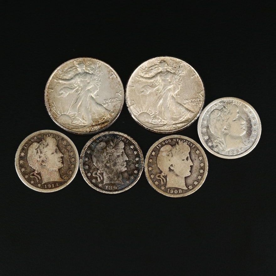 Collection of Walking Liberty Silver Half Dollars and Silver Barber Quarters