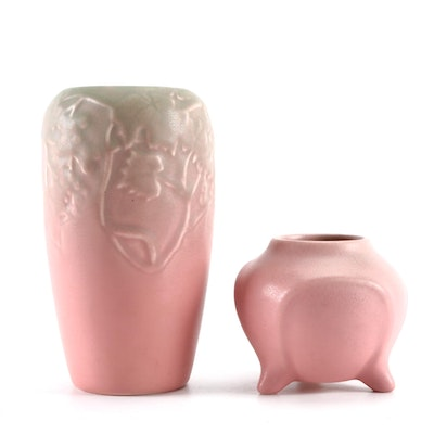 Rookwood Pottery Green to Pink Vase and Pink Glaze Footed Vase, 1930s