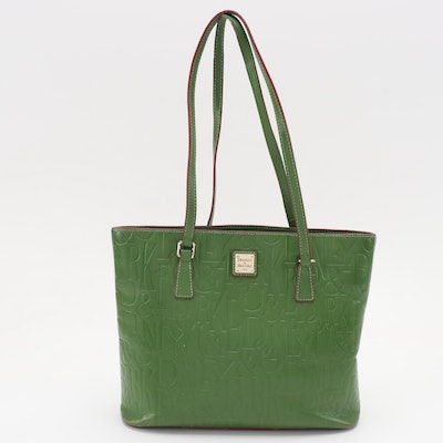 Dooney & Bourke DB Retro Green Embossed Leather Tote