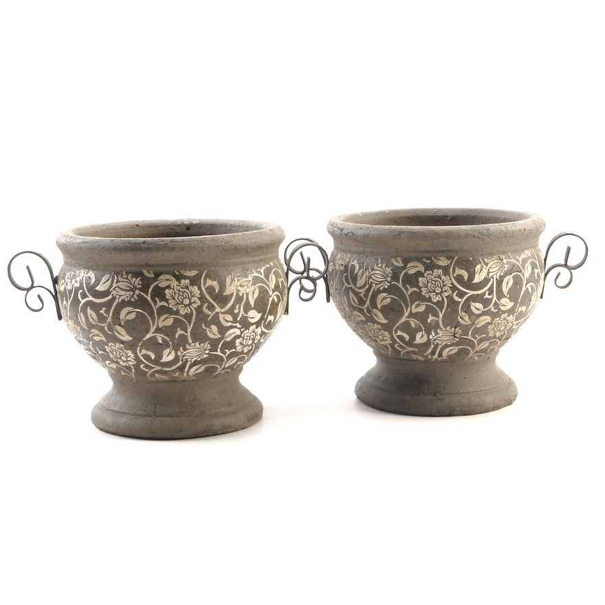 Pair of Terracotta Floral Decorated Planters