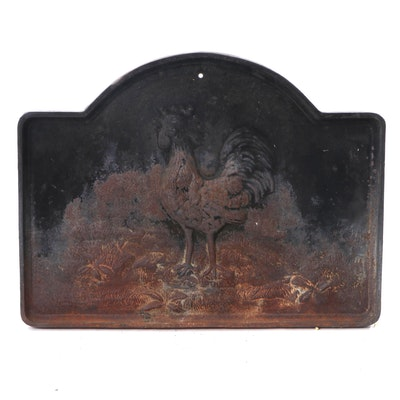 Cast Iron Fireback with Design of a Rooster