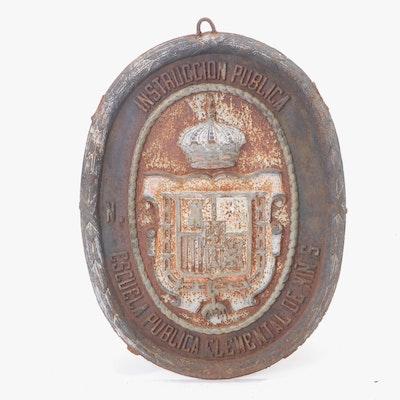 "Antique Spanish Cast Iron ""General Directorate of Public Instruction"" Sign"