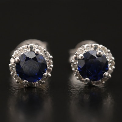 Sterling Silver Sapphire and Diamond Stud Earrings