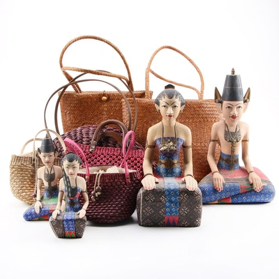 Indonesian Bride and Groom Figurines and Rattan Purses