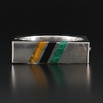 Mexican Sterling Silver Tiger's Eye, Black Onyx and Malachite Hinged Bangle
