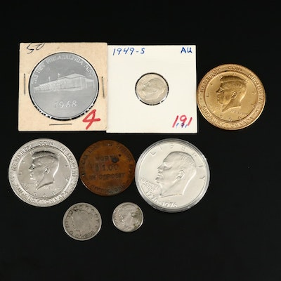 Collection of Assorted Coins and Tokens Including Key Date 1949-S Roosevelt Dime