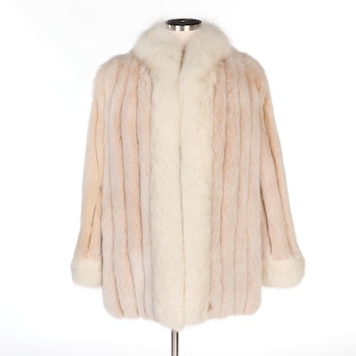 Dyed Fox Fur Jacket with Shadow Fox Trim