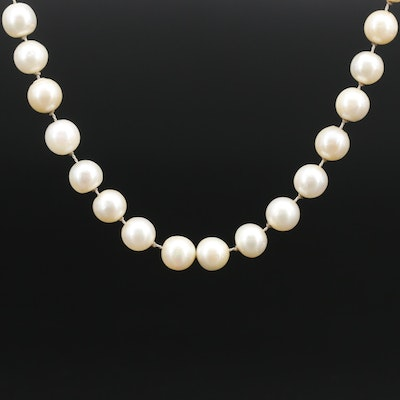 Hand Knotted Pearl Necklace with Sterling Silver Clasp