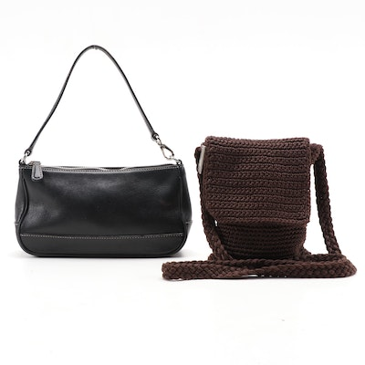 Coach Black Leather Hampton Wristlet and The Sak Brown Crochet Bag
