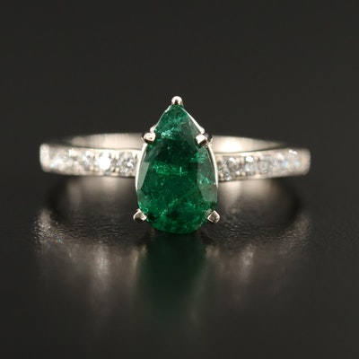 14K 1.57 CT Emerald and Diamond Ring with GIA Report