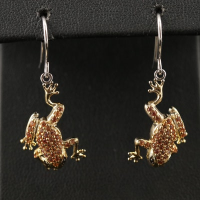 Sterling Silver Sapphire and Enamel Frog Earrings