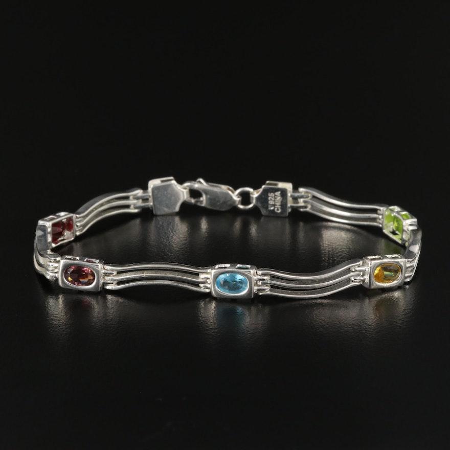 Sterling Silver Glass Wave Bracelet