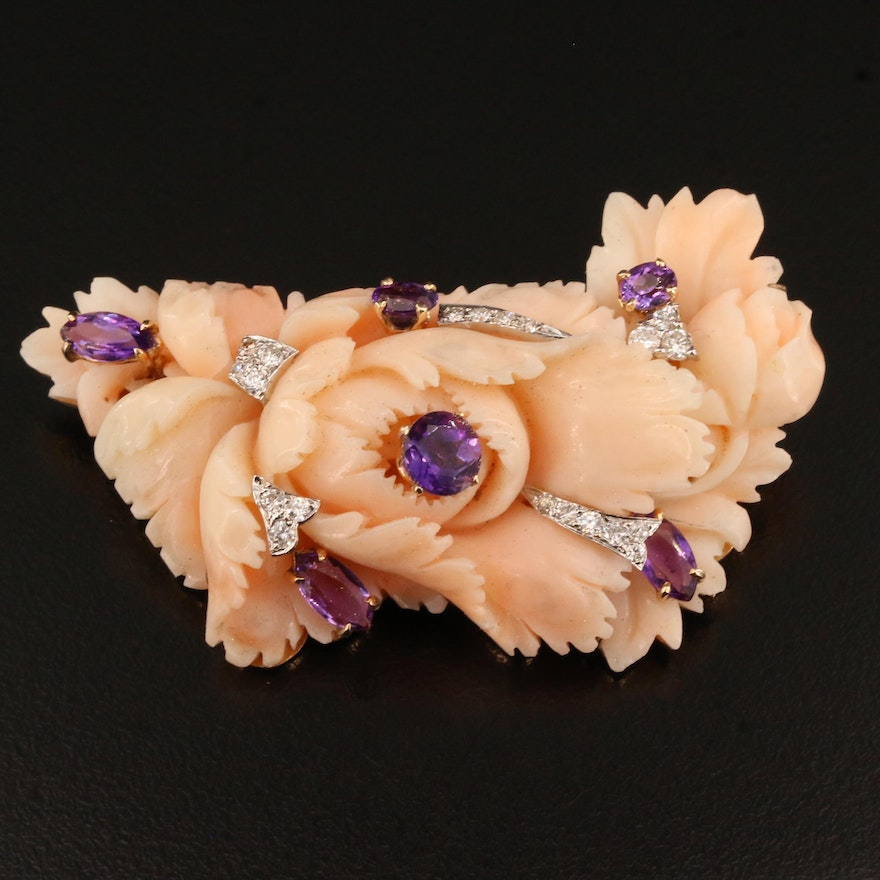 14K Carved Coral, Amethyst and Diamond Floral Converter Brooch