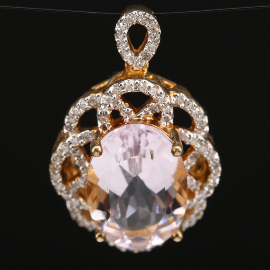Sterling Silver Amethyst and Diamond Openwork Pendant