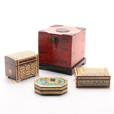 Indian Hand-Painted Elephant, Soviet Straw Inlaid, and Other Boxes