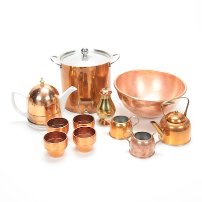 Porcelain Teapot with Copper Cozy and Other Copper Tableware, Mid to Late 20th C