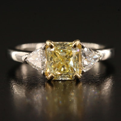 Platinum 1.79 CTW Diamond Ring and 14K Head with GIA Report