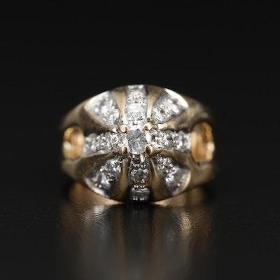 14K Diamond Split Shoulder Dome Ring