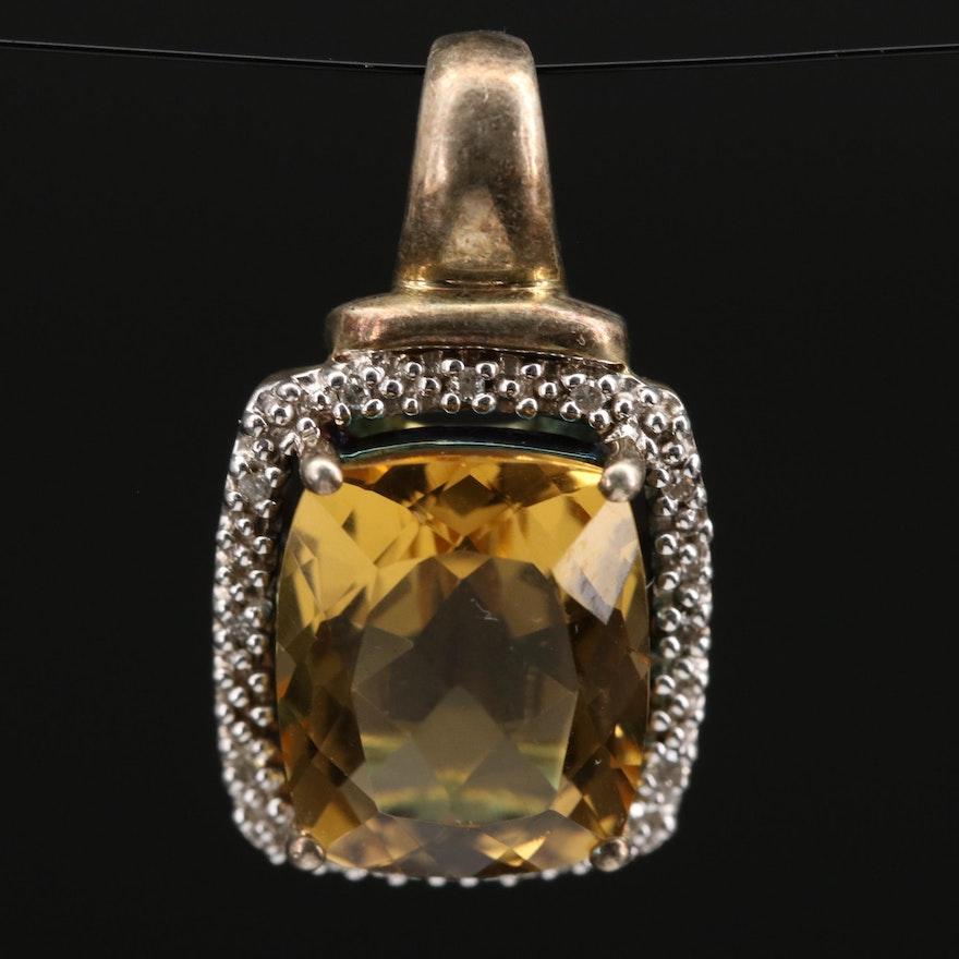Sterling Silver Citrine and Diamond Halo Pendant