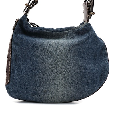 Fendi Oyster Bag in Denim and Smooth Leather