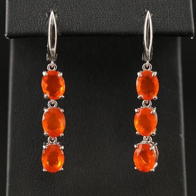 Sterling Fire Opal Dangle Earrings