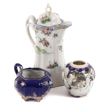 Chinese Hand-Painted Porcelain Serveware and Vase, Mid to Late 20th Century
