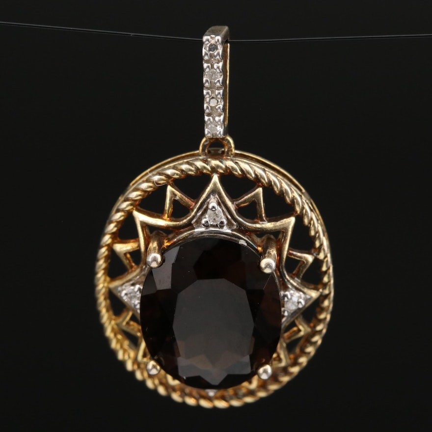 Sterling Silver Smoky Quartz and Diamond Openwork Pendant