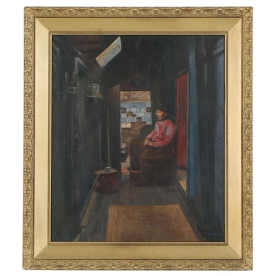 Oil Painting of Elderly Man Seated in Repose, Early 20th Century