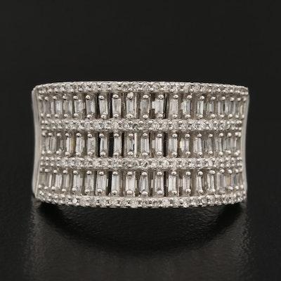10K Diamond Triple Row Concave Ring