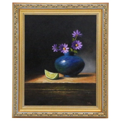 """Houra Alghizzi Oil Painting """"Purple Flowers and Lime Section"""", 2019"""