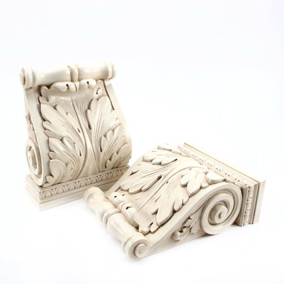 Pair Neoclassical Acanthus Leaf Wooden Corbels, 21st Century