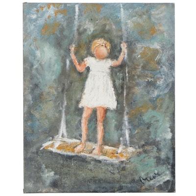 "Barb Greve Figurative Oil Painting ""Swinging Girl"", 2011"