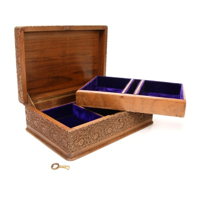 Carved Wood Jewelry Box with Velvet Lining