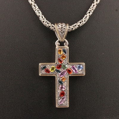 Sterling Various Color Sapphire and Diamond Cross Necklace with 18K Accents