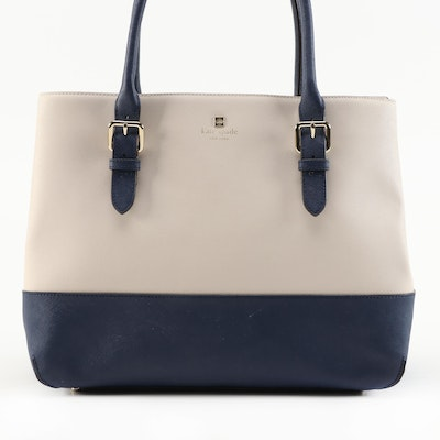 Kate Spade Cove Street Airel Tote in Pebble/Navy Colorblock Saffiano Leather