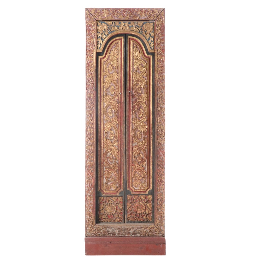 Balinese Polychrome-Decorated, Parcel-Gilt, and Relief-Carved Door Panel