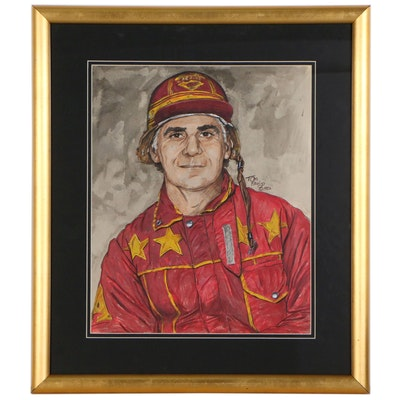 Tom Pauly Colored Pencil and Watercolor Portrait of Jockey, 1982