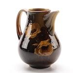 Rookwood Pottery Iris Glaze Pitcher, Yellow Poppies on Brown, 1892