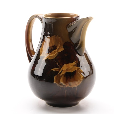 Rookwood Pottery Iris Glaze Pitcher, Yellow Poppies on Brown, 1892