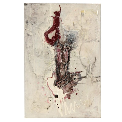 Robert Geno Centofanti Abstract Mixed Media Painting, Late 20th Century