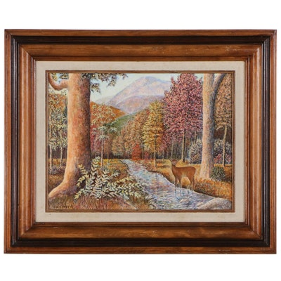 Autumn Landscape with Deer Oil Painting, 1983
