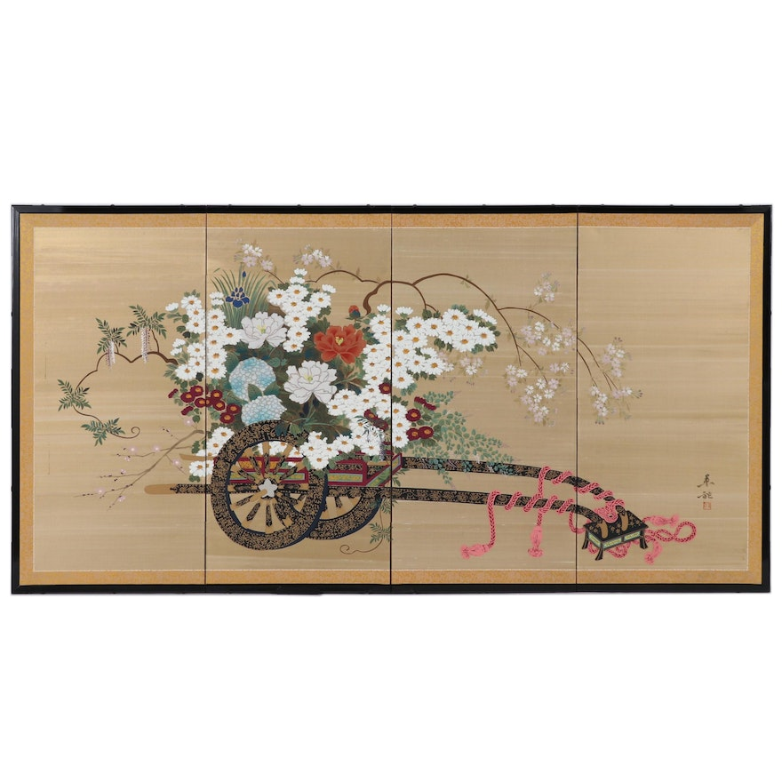 Chinese Hand-embellished Folding Screen of Flower Cart, Mid 20th Century