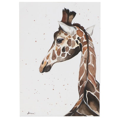 Anne Gorywine Watercolor of Giraffe, 2020