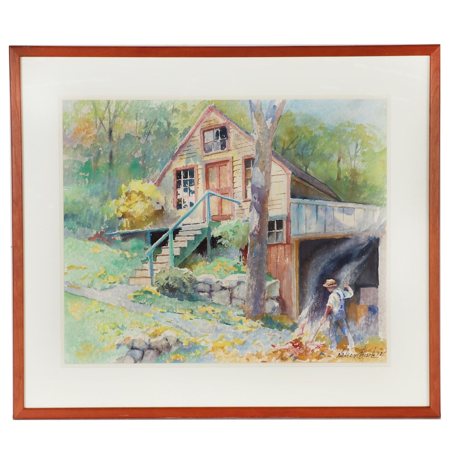 "Nelson Chase Watercolor Painting ""Hatch's Place"", 1972"